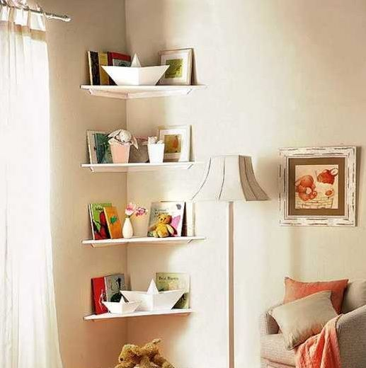 Corner shelf ideas for small bedroom storage solution - Bedroom wall shelves decorating ideas ...