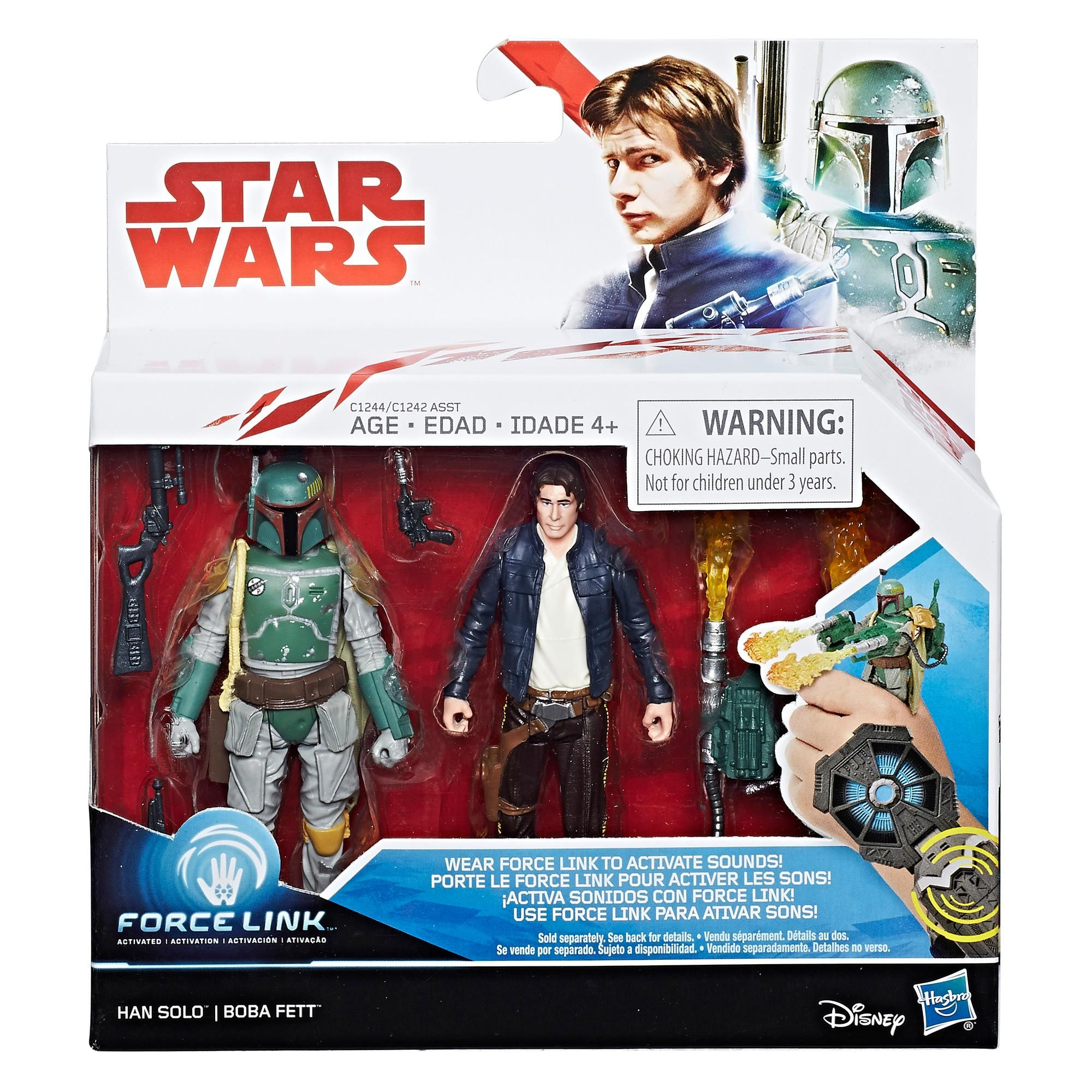 Star Wars action figures Han Solo and Boba Fett force link Hasbro Disney