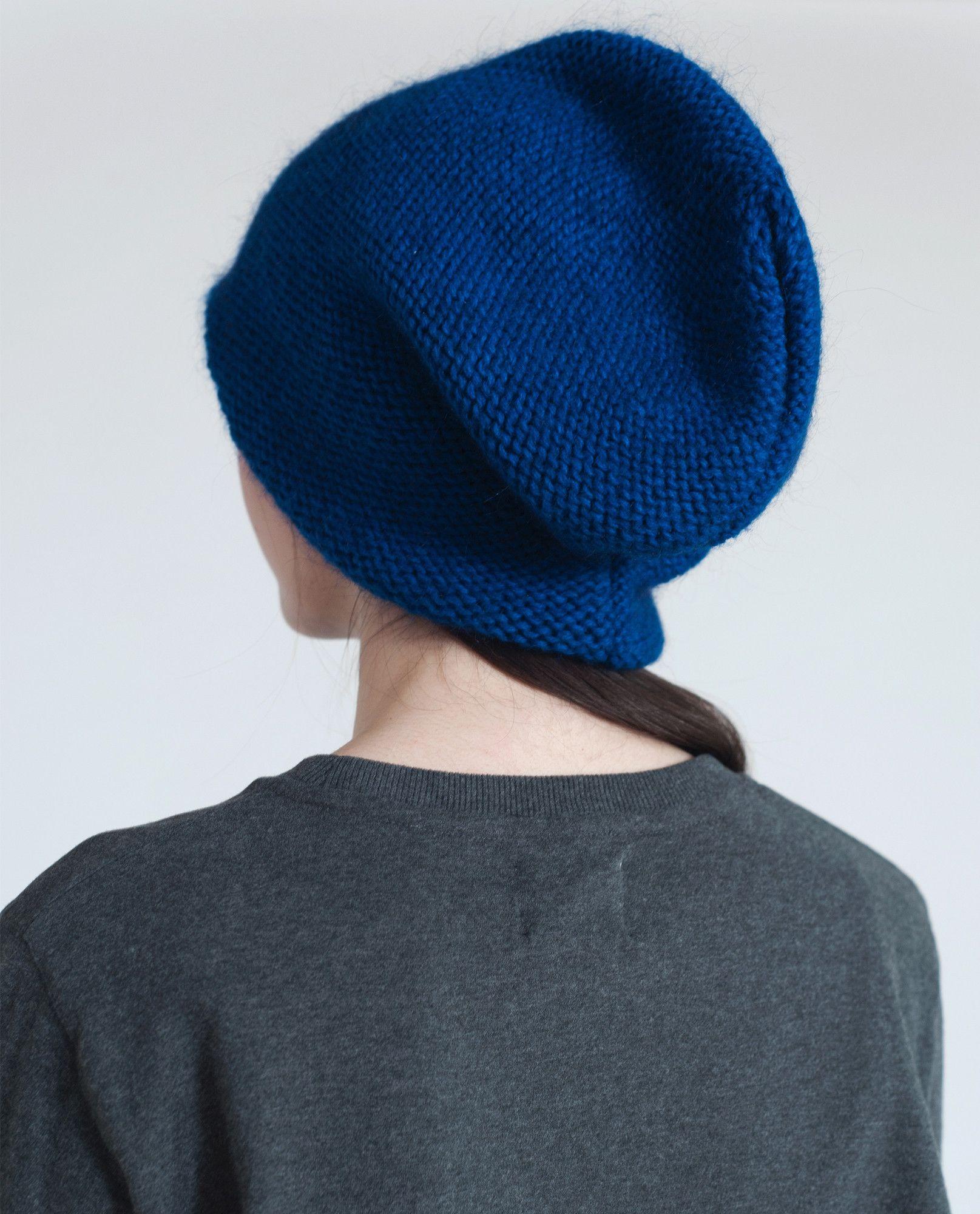 ELIZA Slouchy Mohair Beanie Hat In Cobalt  21d486b0604