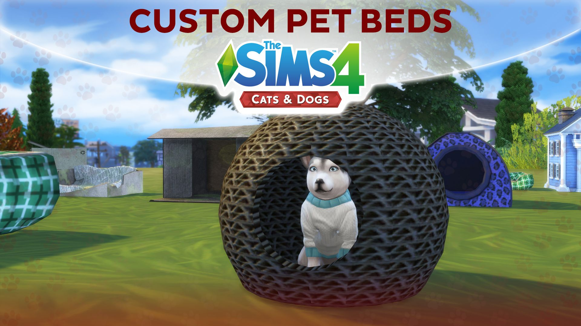 The Sims 4 Cats Dogs Custom Pet Beds And Pet Houses Sims Pets