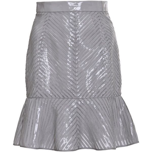 J. Mendel Geometric Sliced Strip Mounted Patent Leather Volant Skirt (€2.685) ❤ liked on Polyvore featuring skirts, geometric print skirt, j. mendel, geometric skirt and patent leather skirt