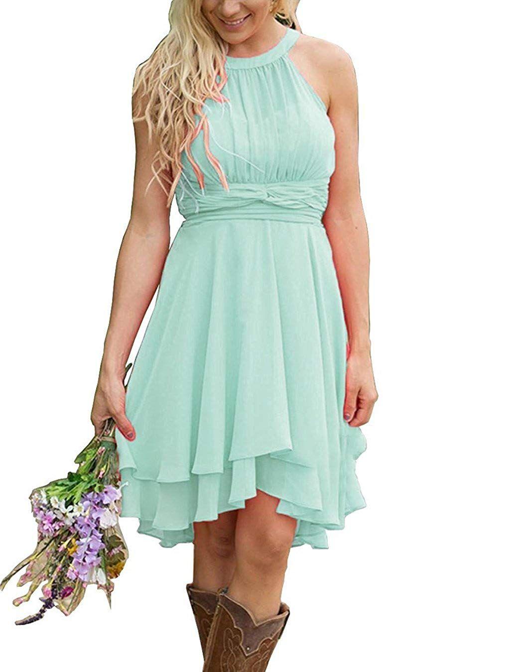 Women's Knee Length Country Bridesmaid Dress Western