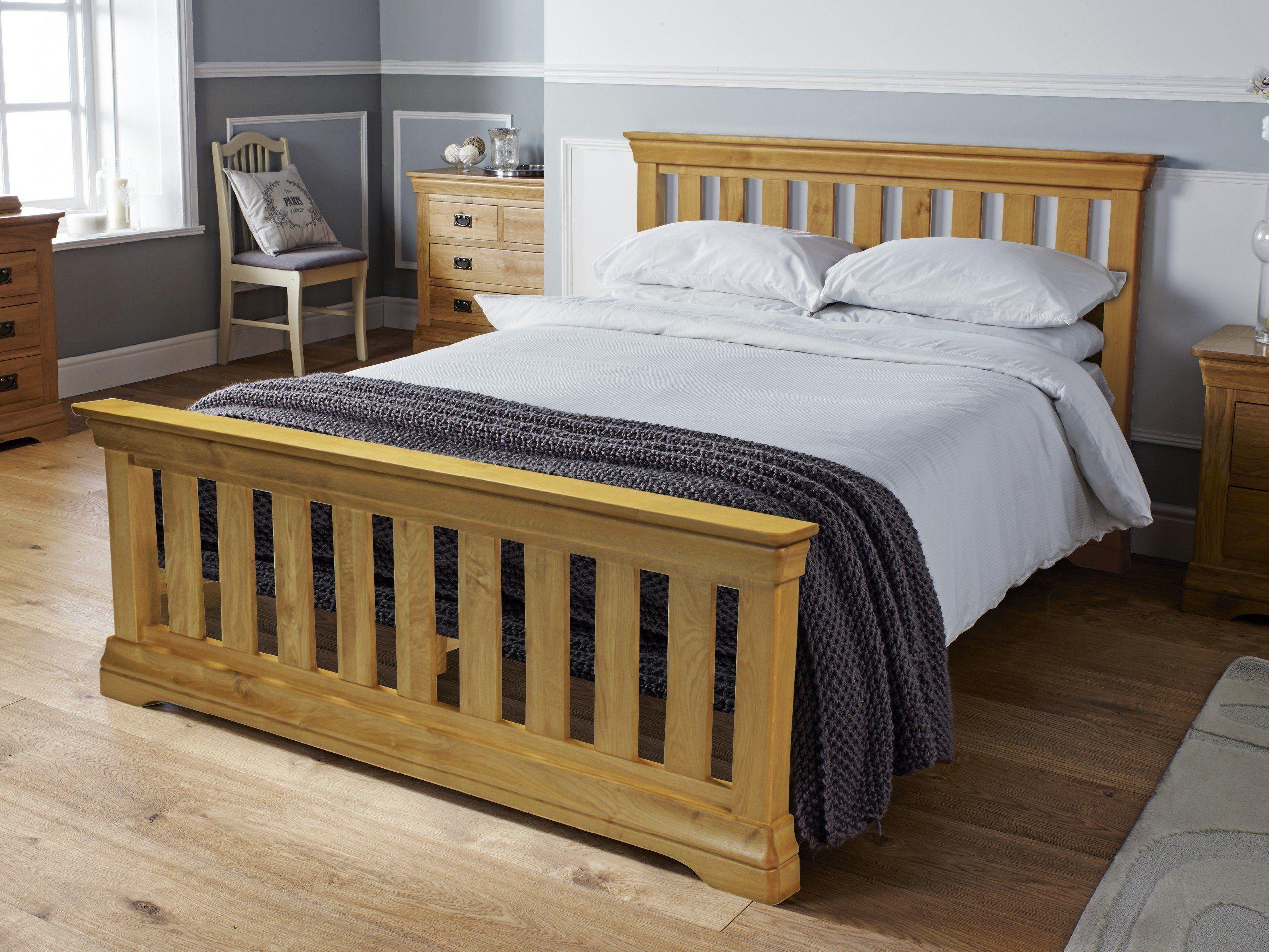 Farmhouse Country Oak Slatted 5 Foot Kingsize Bed Oak