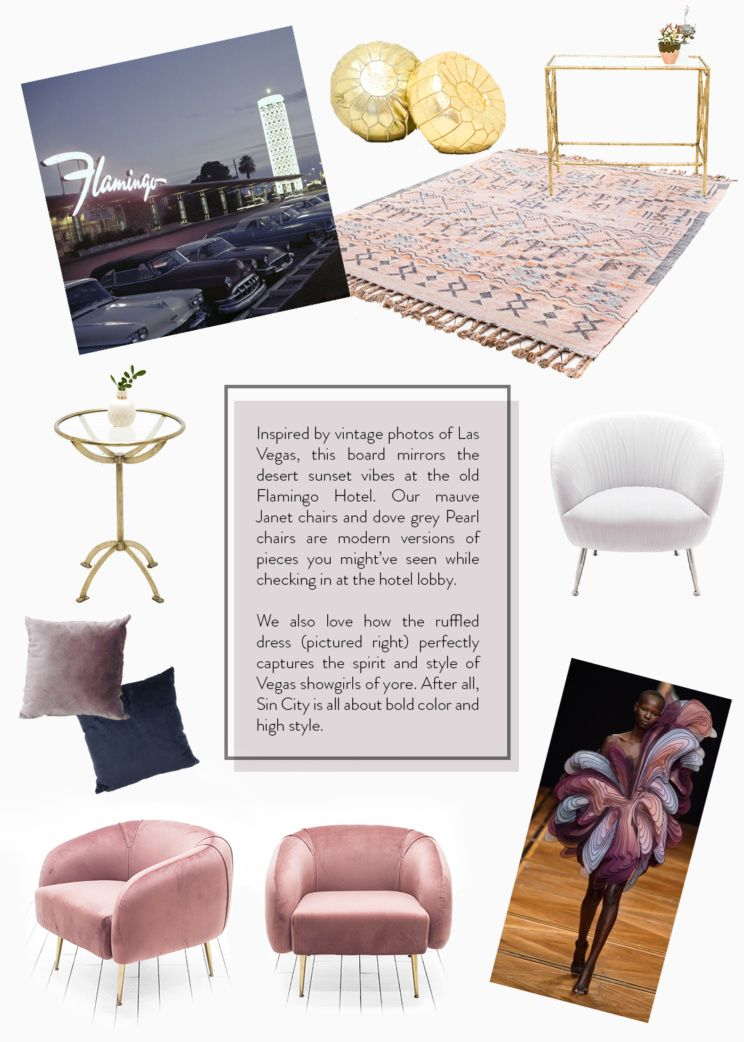 In The Mood For Vintage Vegas Click To See Our Design Board Inspired By Golden Age Of Sin City