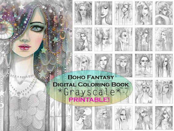 Bohemian Fantasy GRAYSCALE Coloring Book - PRINTABLE - Instant ...