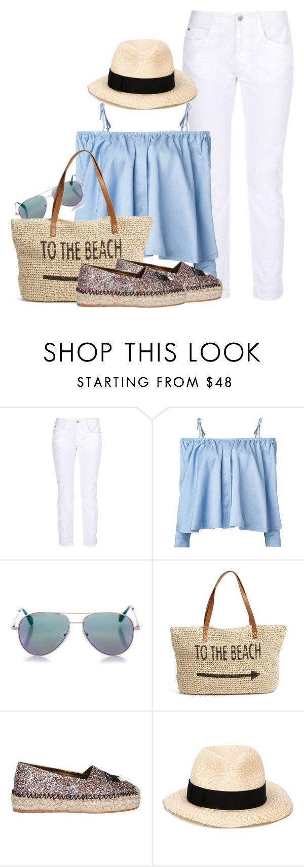 """""""to the beach"""" by ele88na ❤ liked on Polyvore featuring STELLA McCARTNEY, Sandy Liang, Cutler and Gross, Straw Studios, Chiara Ferragni and Eugenia Kim"""
