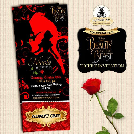 Beauty And The Beast Ticket Invitation  Movie Party Invitation