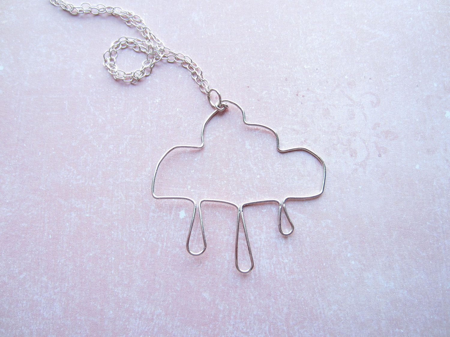 Silver Wire Cloud Necklace Cloud Necklace Rain Necklace Swedish