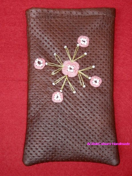 item no198 Handmade leather brown colour floral by ALIFEINCOLOURS, $22.00