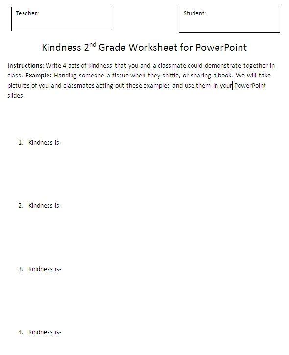2nd grade Kindness unit Powerpoint worksheet | Teaching Tech/Comp