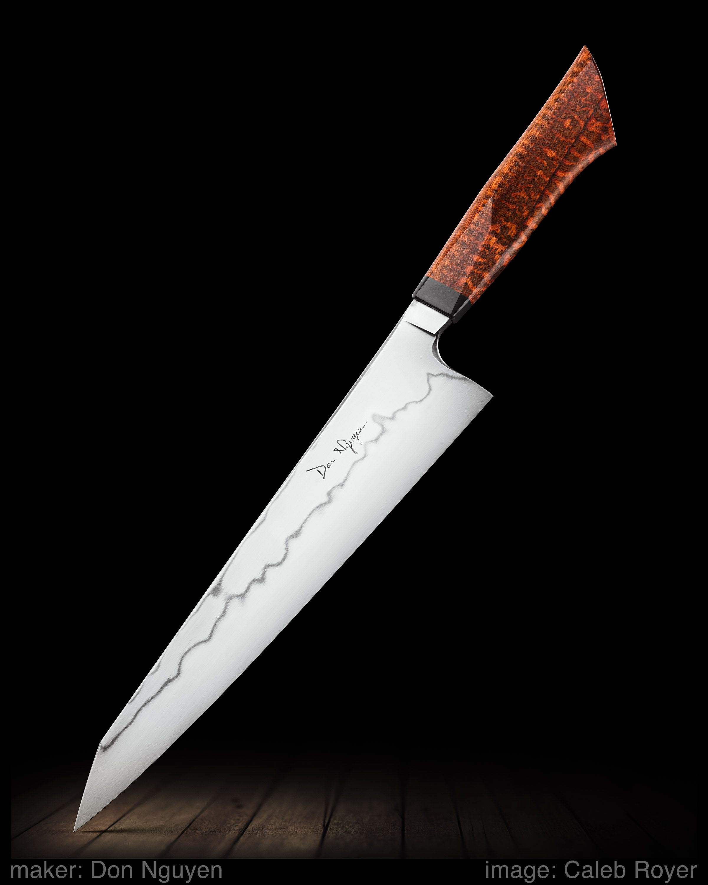 Maker Don Nguyen Website Donnguyenknives Com W2 Gyuto With A Hamon And Kiritsuke Style Tip The Handle Is A New Design Of Mi Chef Knife Kitchen Knives Knife