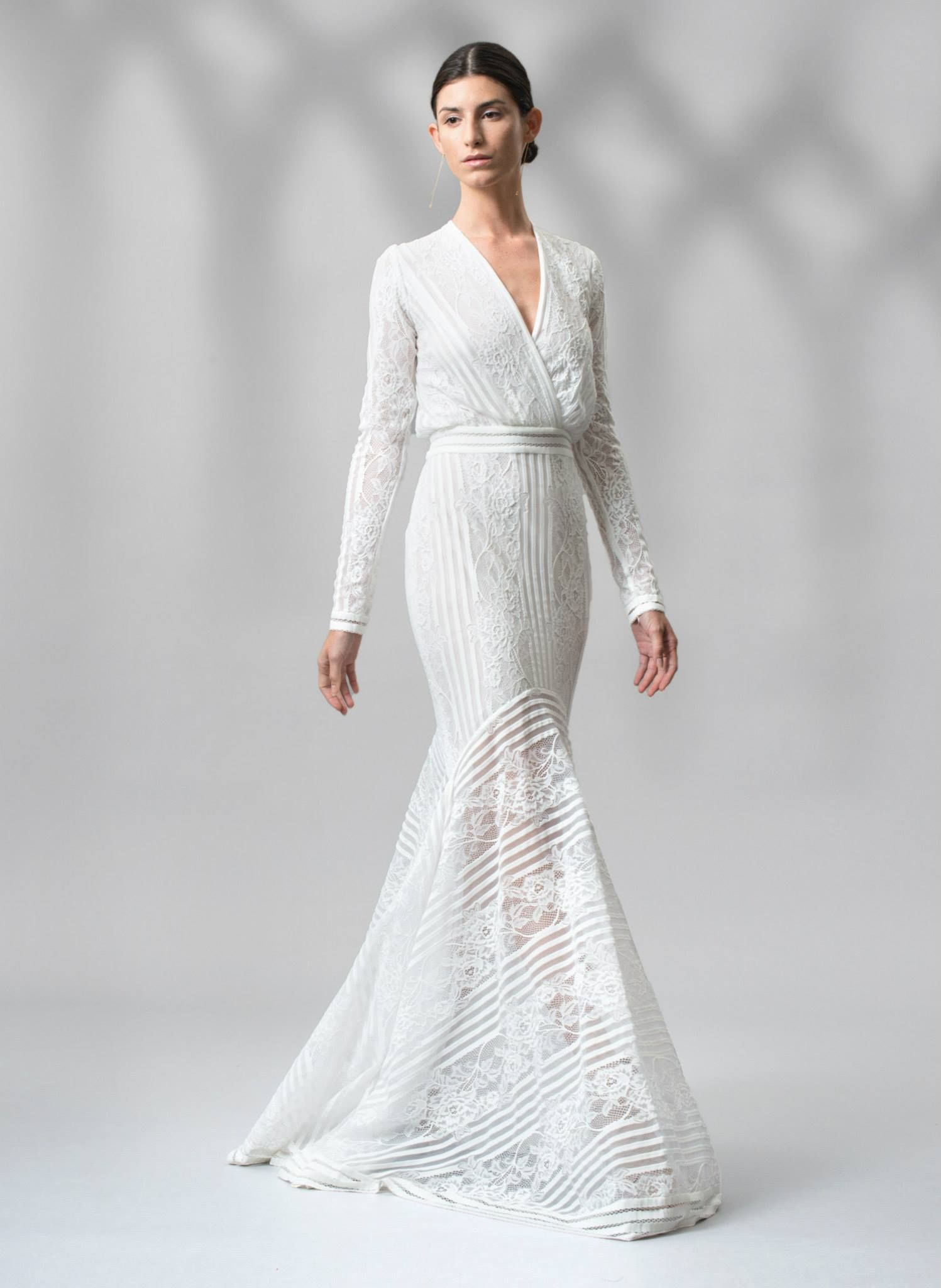 Merveilleux Tadashi Shoji Stripe Knit And Floral Lace Long Sleeve Gown Style Wedding  Dress