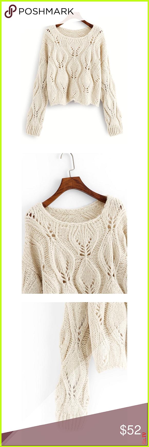 Cream Beige Round Neck Hollow Soft Sweater Round Neckline Long Sleeve Drop Shoulder Regular Fit 65 Polyester 5 Spandex 30 Cotton Spring Fall Wi Cream Beige Round Neck Hol...