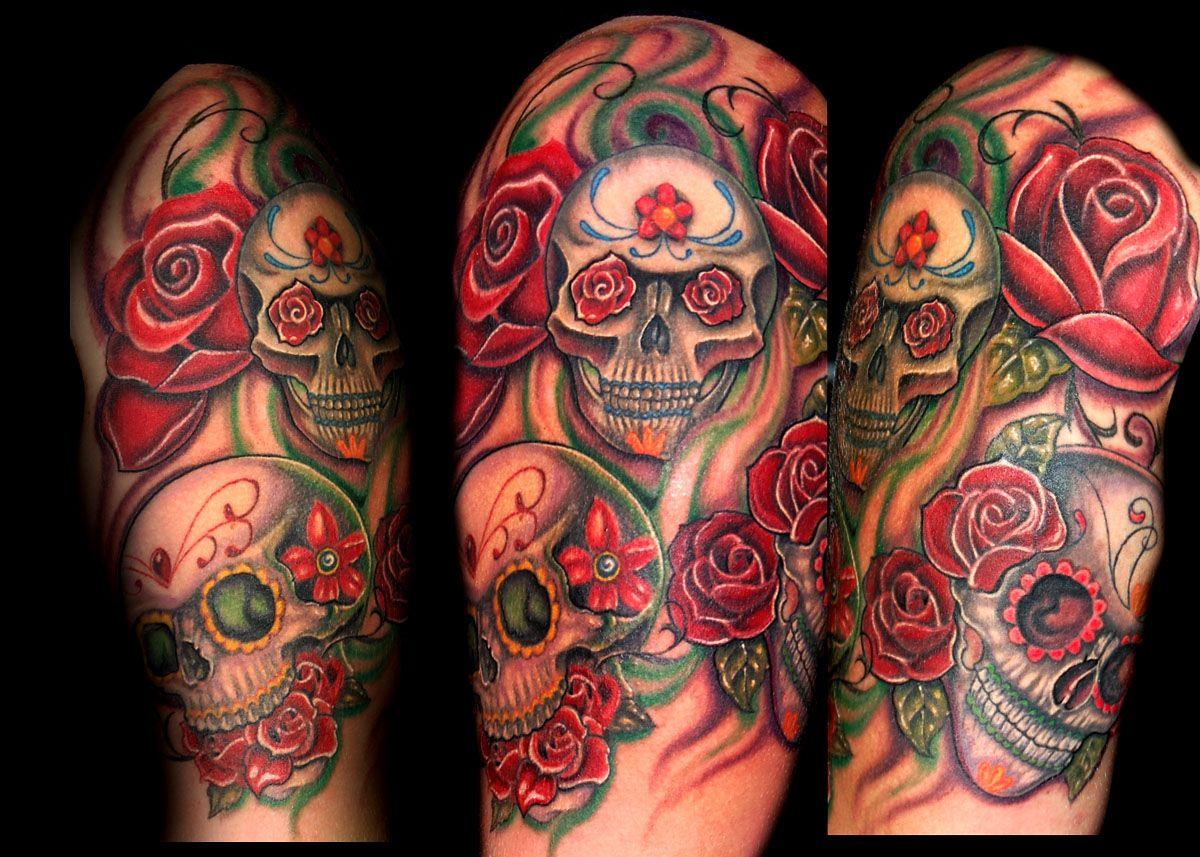 Mexican Sugar Skull Sleeve Tattoos Best Sleeve Tattoos Girl Tattoos