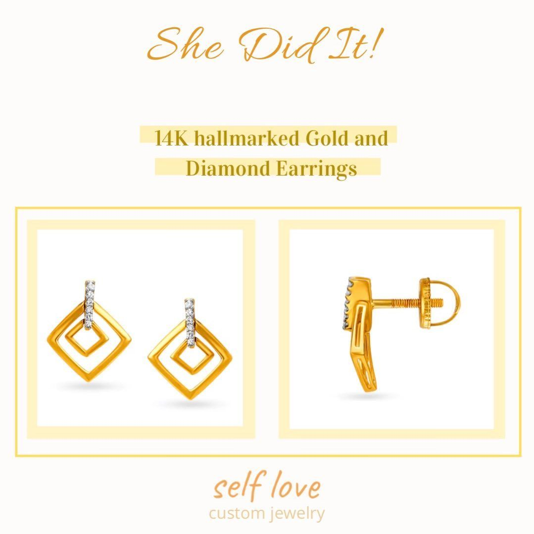 Stunning Diamond earrings to add sparkle to your face on cloudy Summer days.  These are 14K hallmarked with Gold weighing 3.22gms and Diamond weighing .063ct.  With us these are priced only at 15000, giving you a retail discount of atleast 8000rs.  Our prices are subject to current gold stock prices. Dm for orders.  #jewelry #jewellery #gold #minimal #minimalism #preciousjewelry #preciousjewellery #photooftheday #potd #diamonds #aesthetic #minimaljewelry #classy #finejewelry #indianjewellery #de