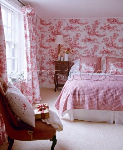 Double Bed In Pink Bedroom With Toile De Jouy Wallpaper And Coordinating  Curtains