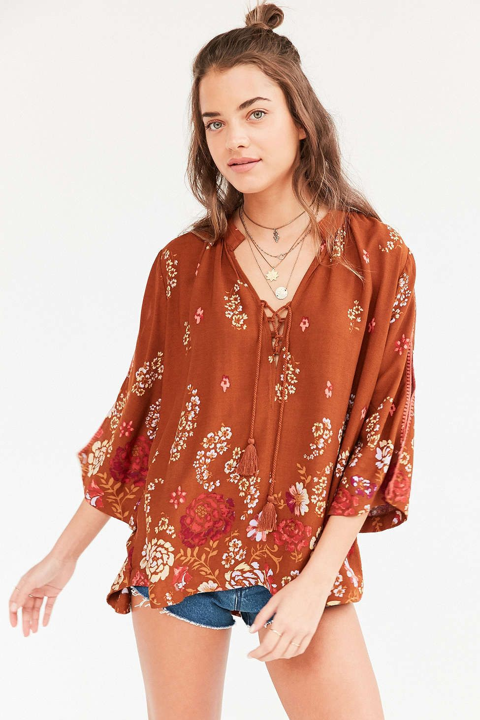 Ecote Lily Lace-Up Collar Blouse - Urban Outfitters  5f057ed64