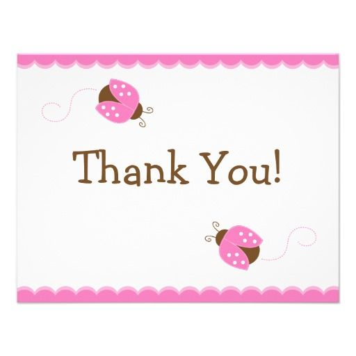 Pink and Brown Ladybug Flat Thank You Card Personalized Announcement