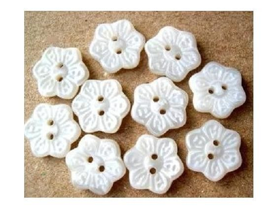 10 Vintage glass buttons six petal flower shape by oritdotan