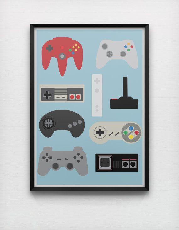 Generations Videogame Controllers Art Print Retro MinimalistGame Console Nintendo Sega Xbox Sony Playstation NES SNES Genesis Megadrive