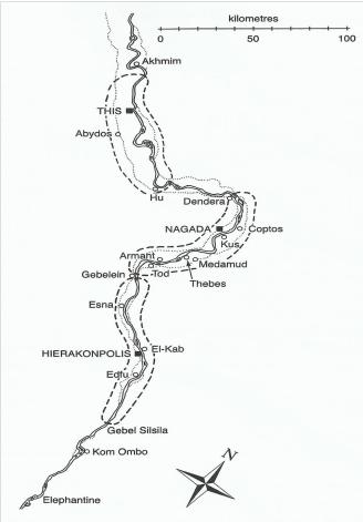 Mapa que muestra la localización de Abidos, necrópolis de la ciudad ...