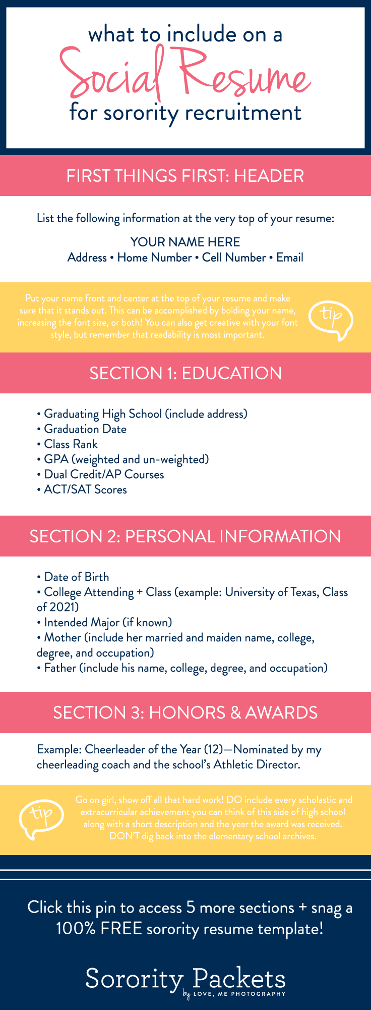 what to include on a sorority resume