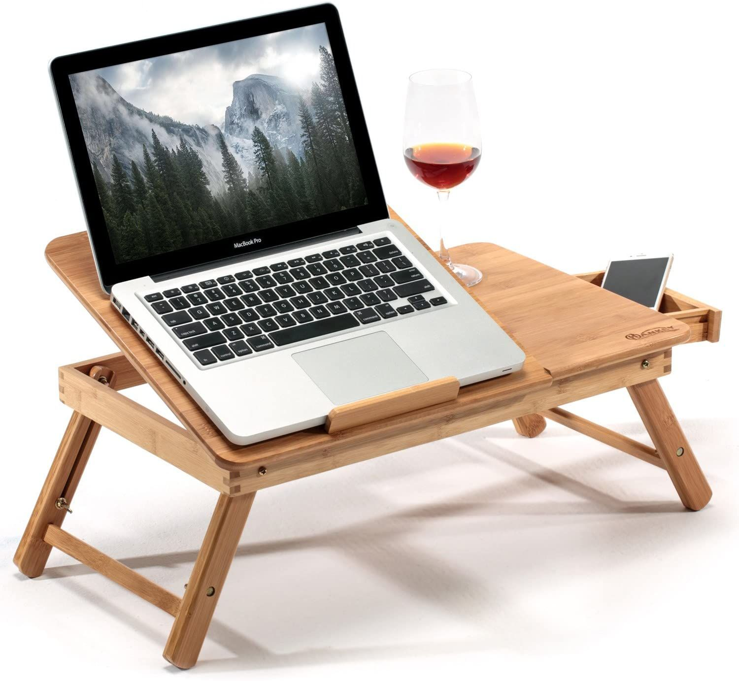 Hankey Bamboo Large Foldable Laptop Notebook Stand Desk With