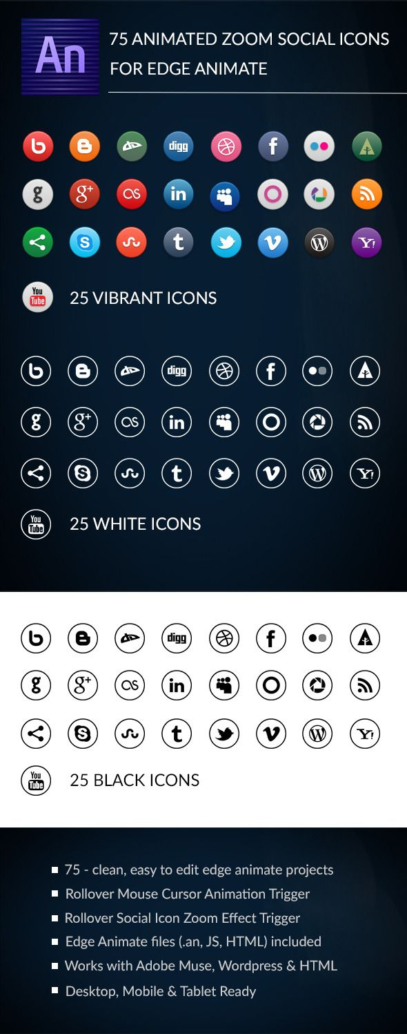 Animated Zoom Social Icons - Edge Animate Template | Code