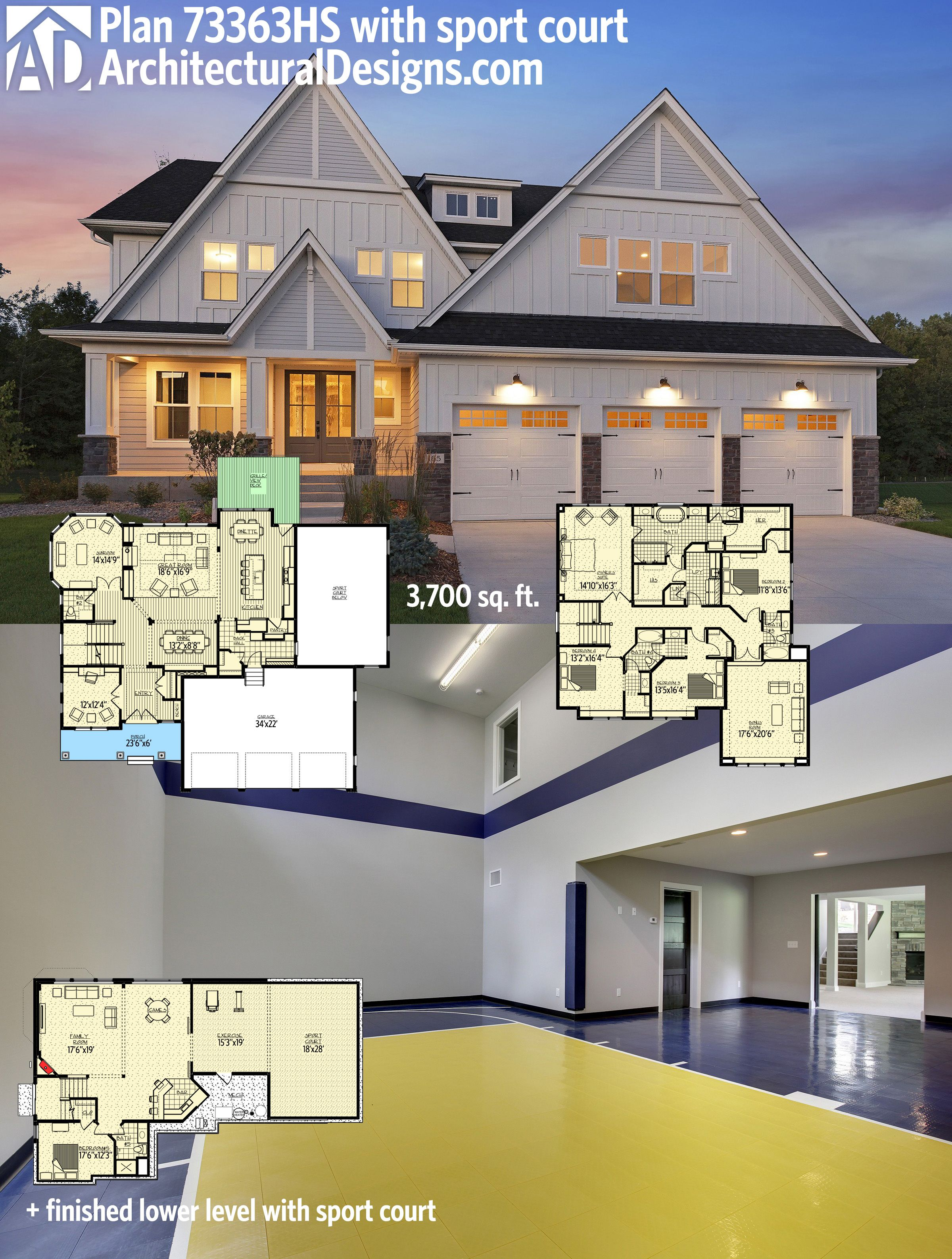 Plan 73363hs stunning exclusive craftsman with optional for Home plans with indoor sports court
