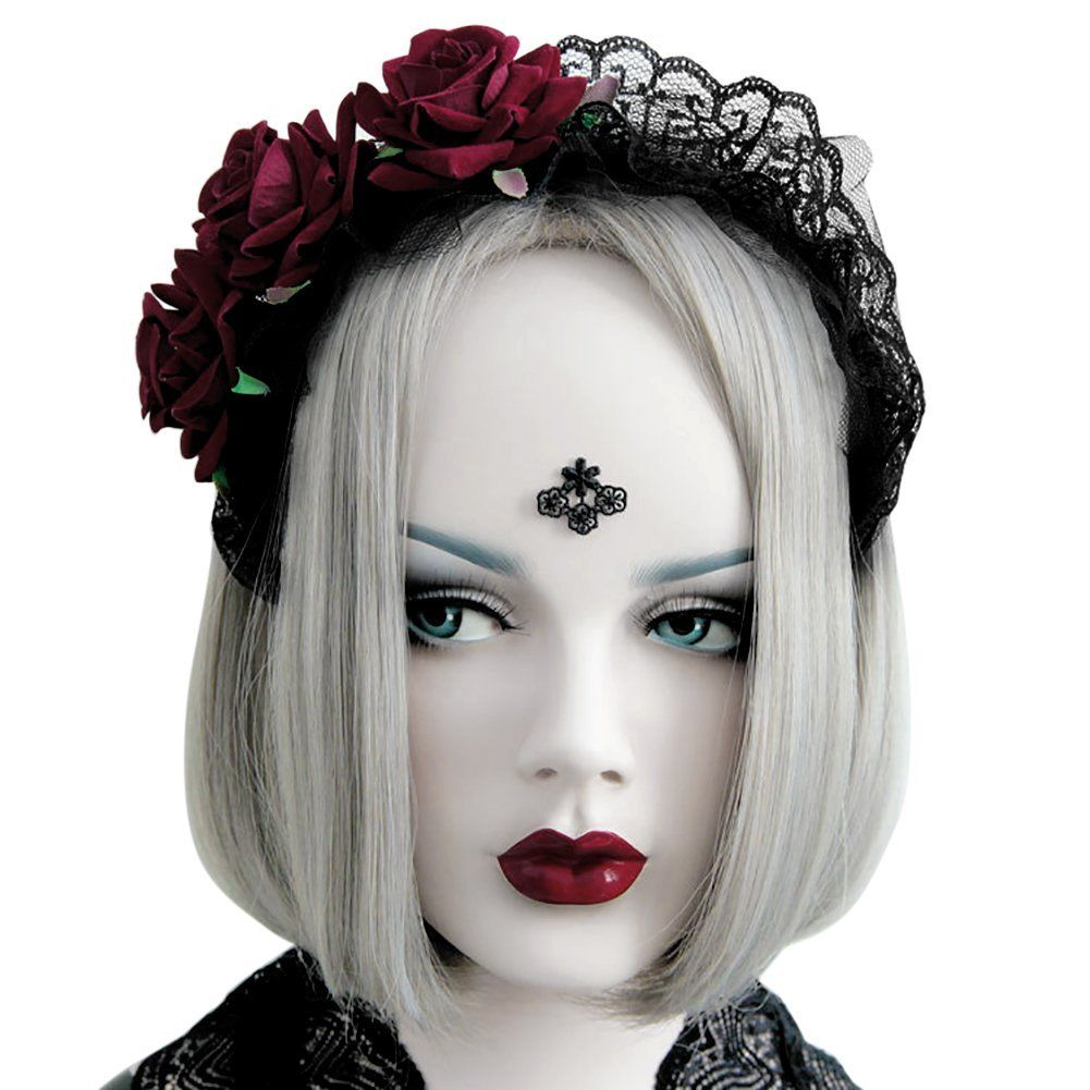 lisli women lace rose headbands halloween witch fancy dress party