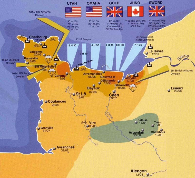 Map Of The Battle Of Normandy During Wwii Showing That The British
