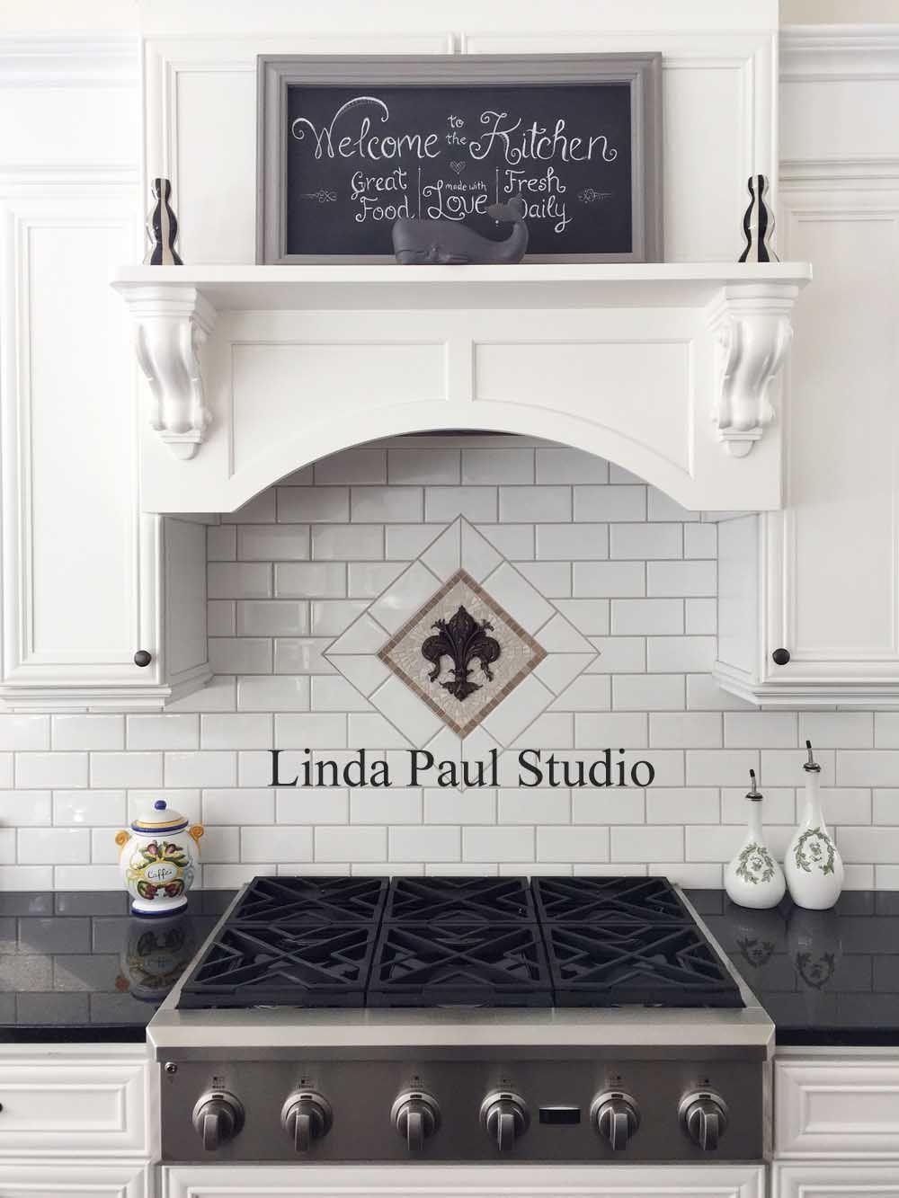 Mosaic Black And White Kitchen Backsplash