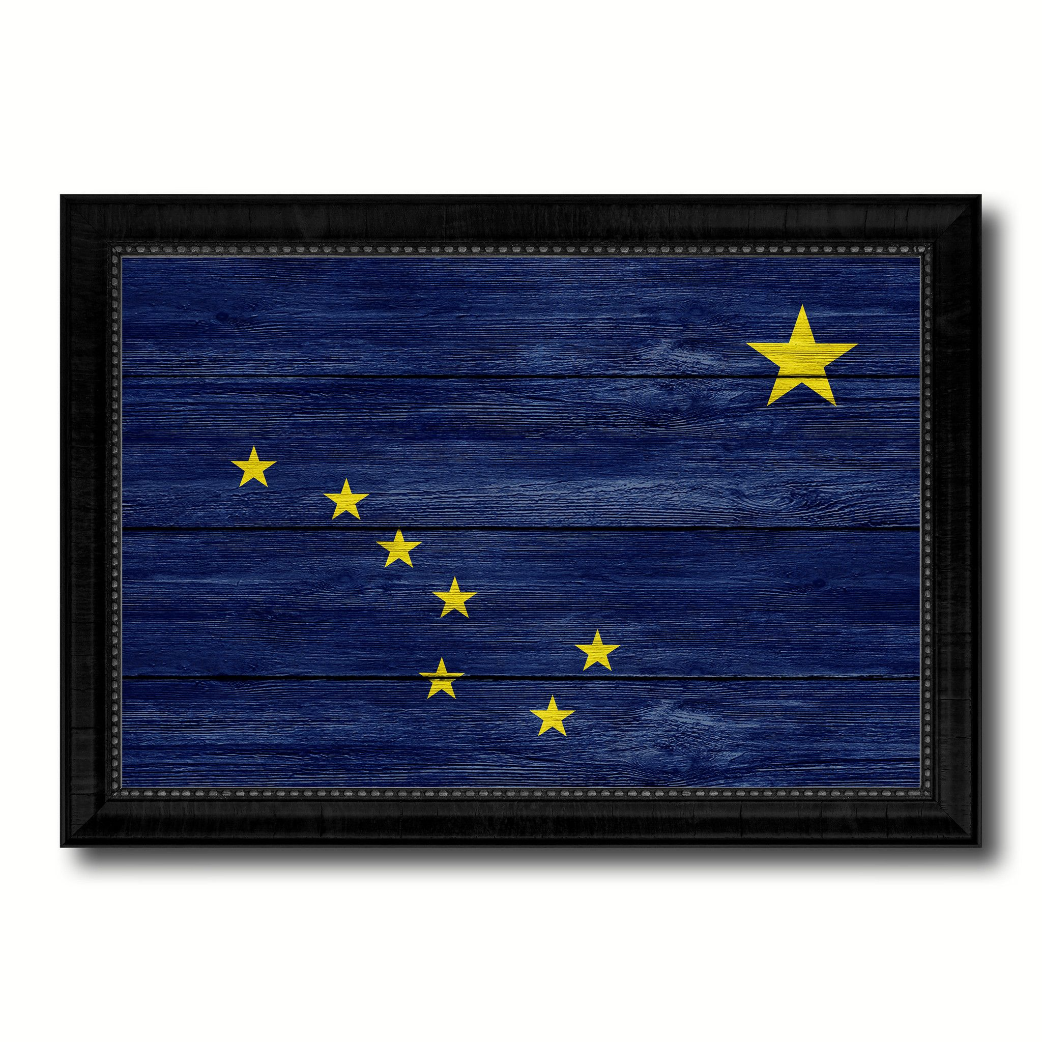 Alaska State Flag Texture Canvas Print With Black Picture Frame