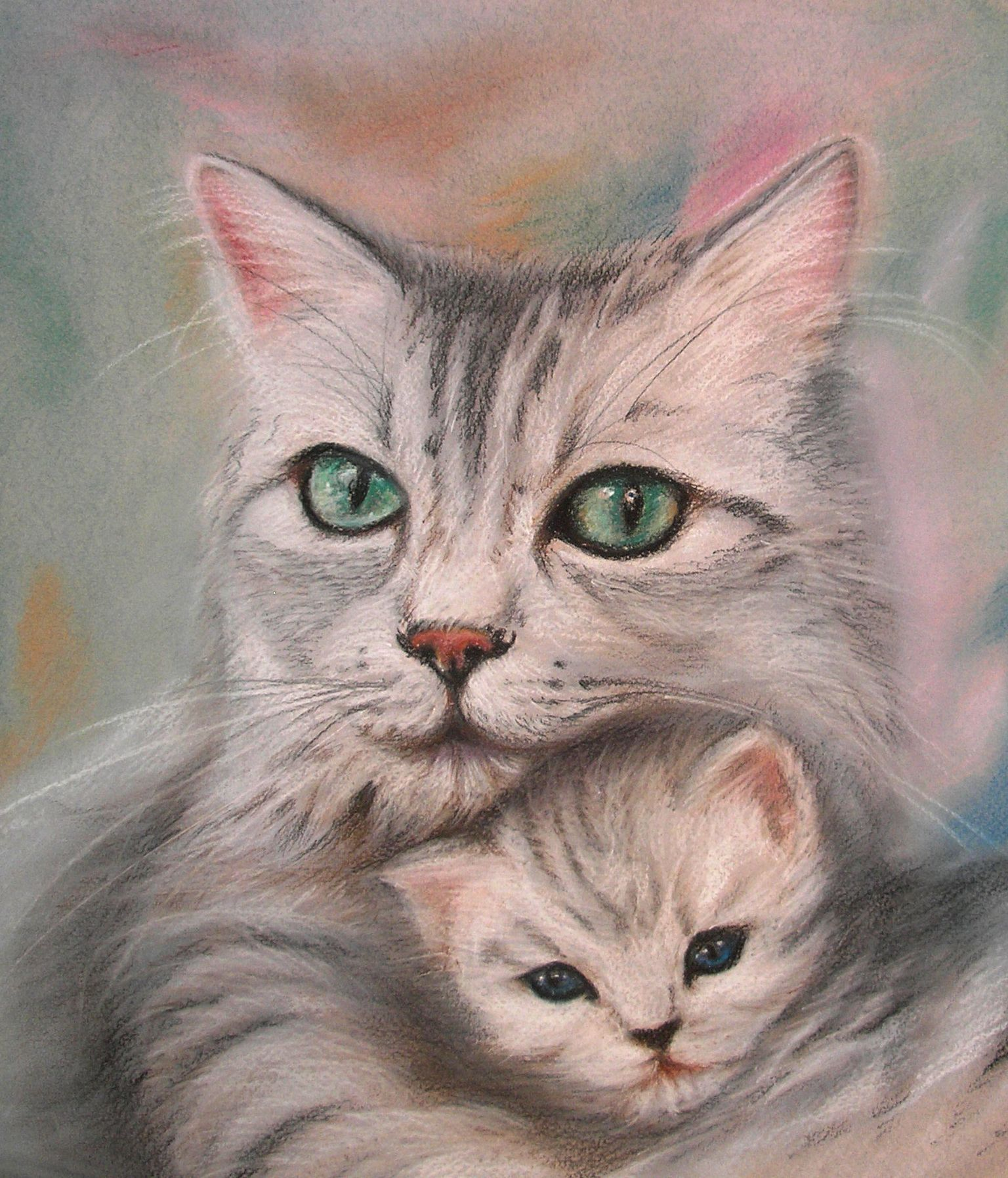 artist Kotyk Inna, crayon picture on a theme cats Chat