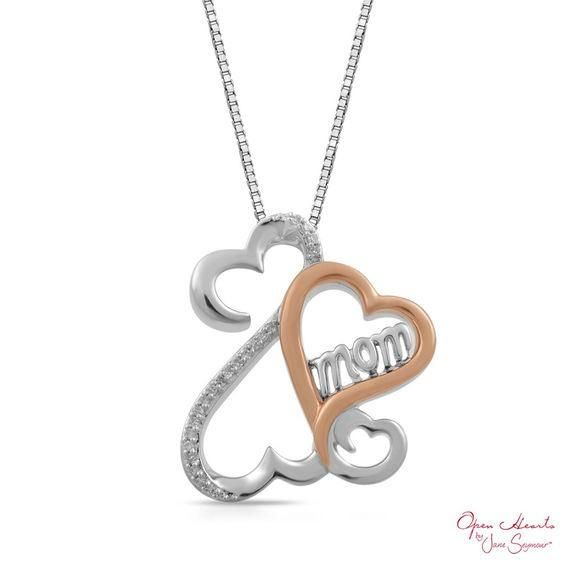 Zales Open Hearts Rhythm by Jane Seymour Diamond Accent Pendant in Sterling Silver and 10K Rose Gold OWILZ