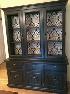 Black China Hutch With Fabric Lined Interior
