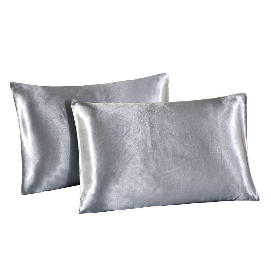 2x Soft Polyester Pillow Case For Hair And Skin Luxury Pillowcase 51x66cm Grey Silk Pillowcase King Pillows Luxury Silk