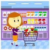 Pasillo supermercado : Una Mujer  mamá compra en el supermercado.