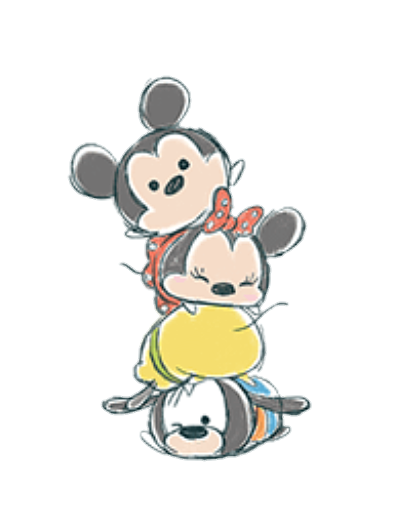 Cute Drawing of Mickey, Minnie, Pluto and Goofy