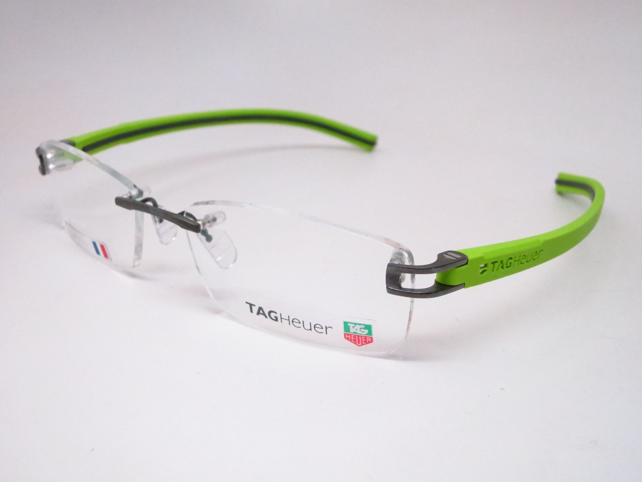 857ff88881 Tag Heuer TH 7643 014 Grey   Green Track-S Rimless Eyeglasses ...