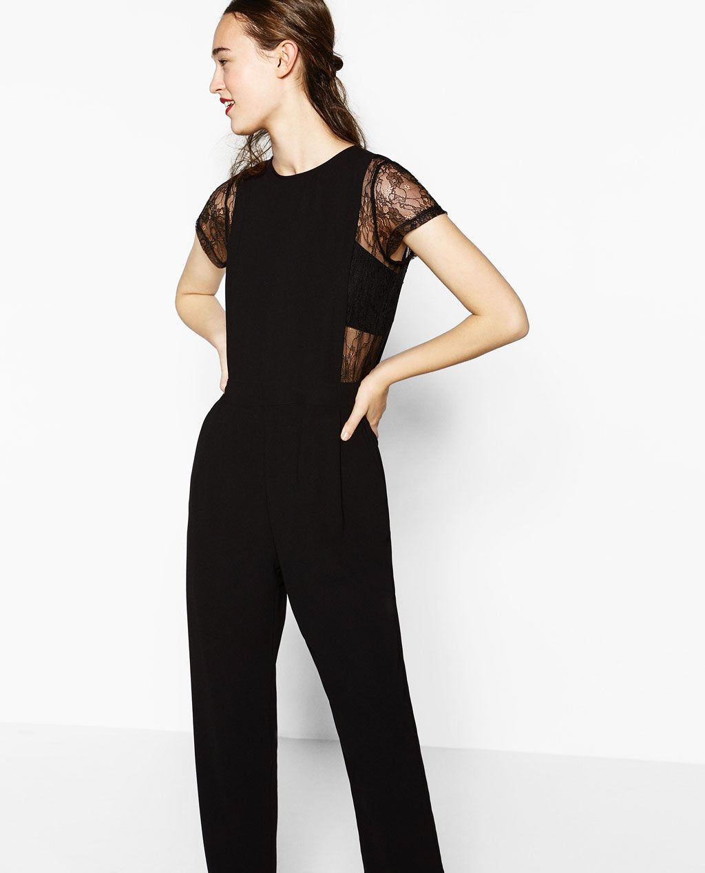 f2b4f046652 Image 2 of CONTRAST LACE JUMPSUIT from Zara