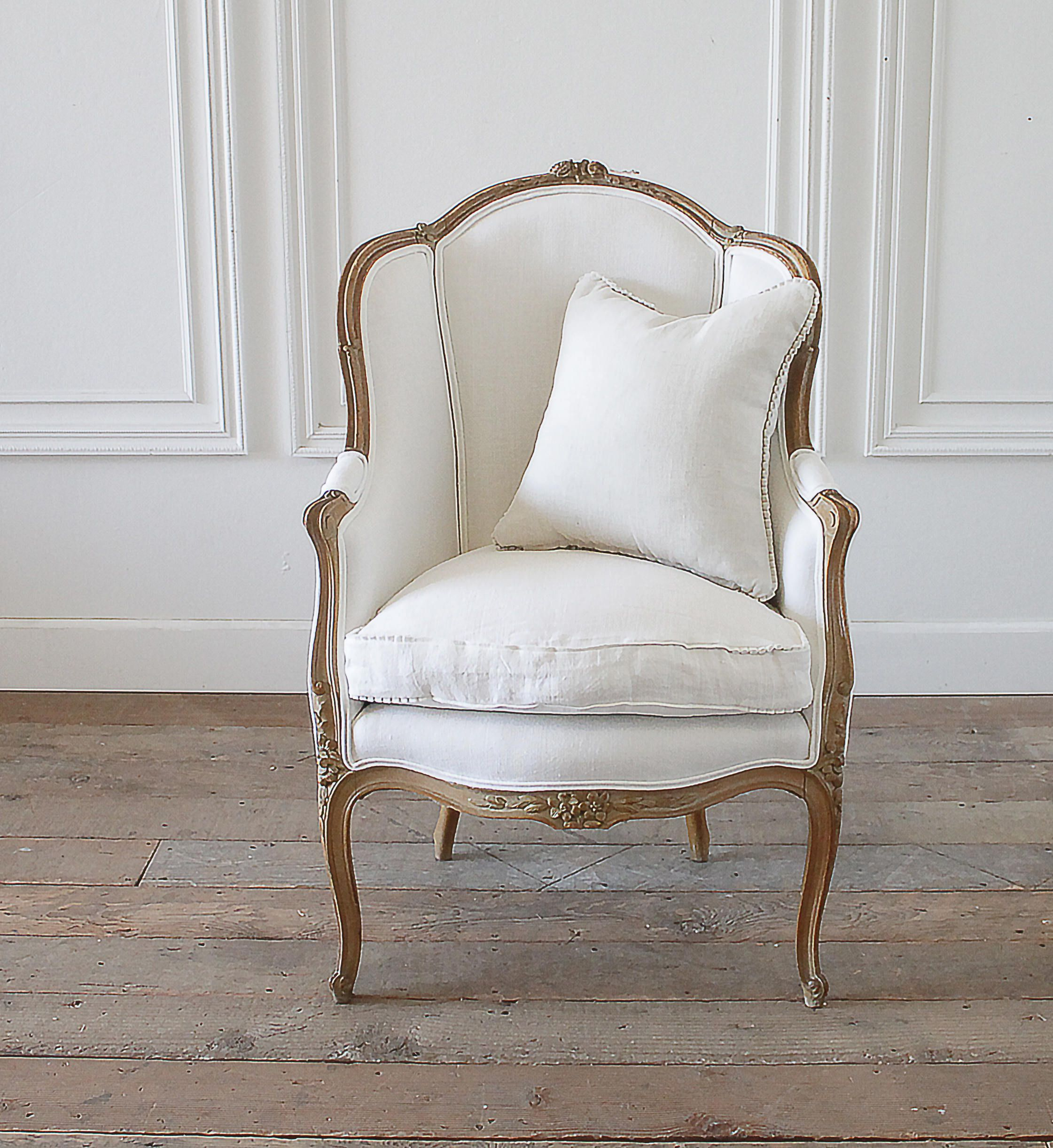 Antique french louis xv style wingback chair in white