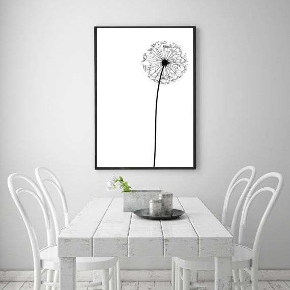 Dandelion modern abstract wall art printable 24 x 36 poster black white