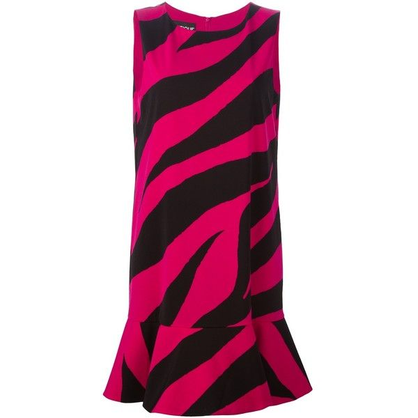 Moschino Dress With Frill ($298) ❤ liked on Polyvore featuring dresses, fuxia, back zipper dress, moschino, zebra print dress, round neck sleeveless dress and round neck dress