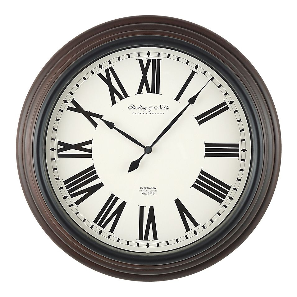 Sterling Noble 18 Traditional Roman Numeral Wall Clock In Mahogany Mahogany Black Roman Numeral Wall Clock Wall Clock Clock