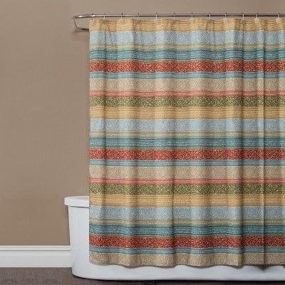 This Earth Kochi Stripe Shower Curtain From Saturday Knight Ltd Infuses Your Bathroom With An Earthy Appeal The Multicolored Stripes Each Enhanced A