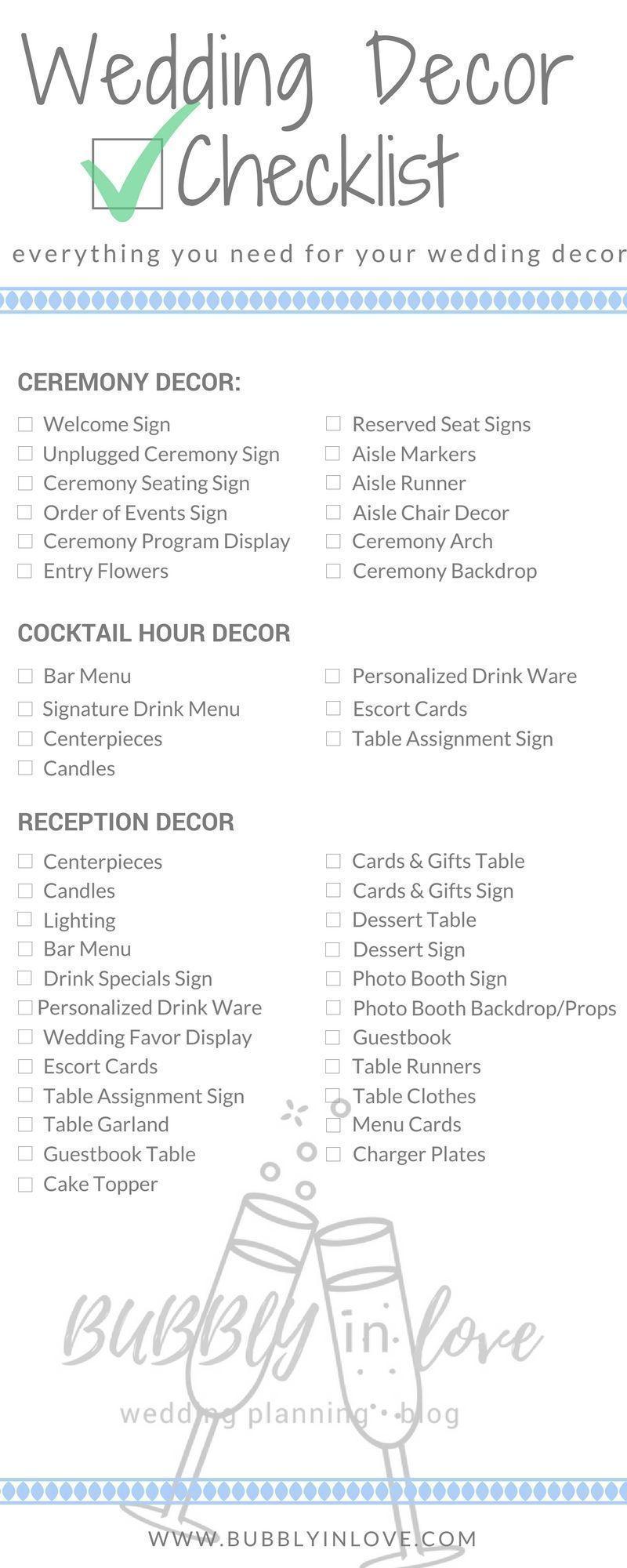 Wedding Decor Checklist Ceremony Reception Tail Hour Weddingschecklist Weddingceremony