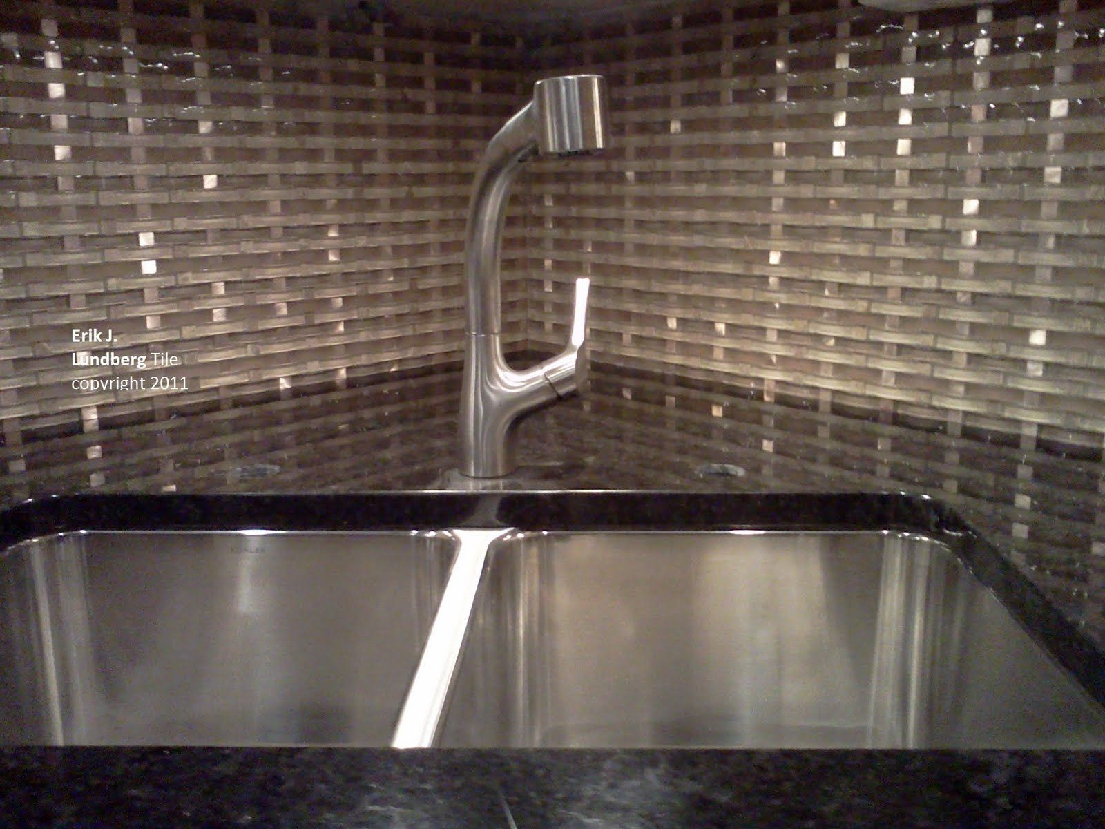Contemporary Glass Tile Backsplash With Black Granite Countertop