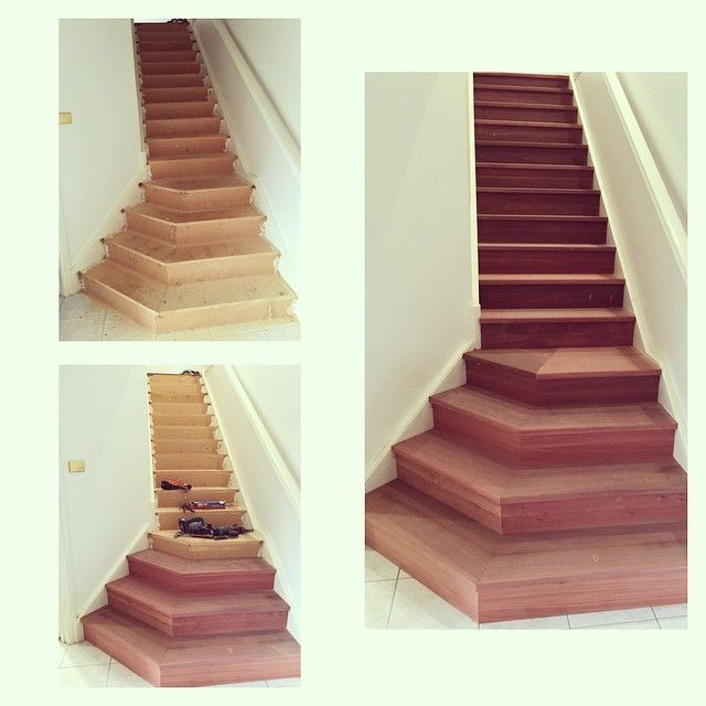 Staircase Renovation   Home Improvement   Old MDF Staircase Wrapped With  Solid Jarrah Treads And Risers
