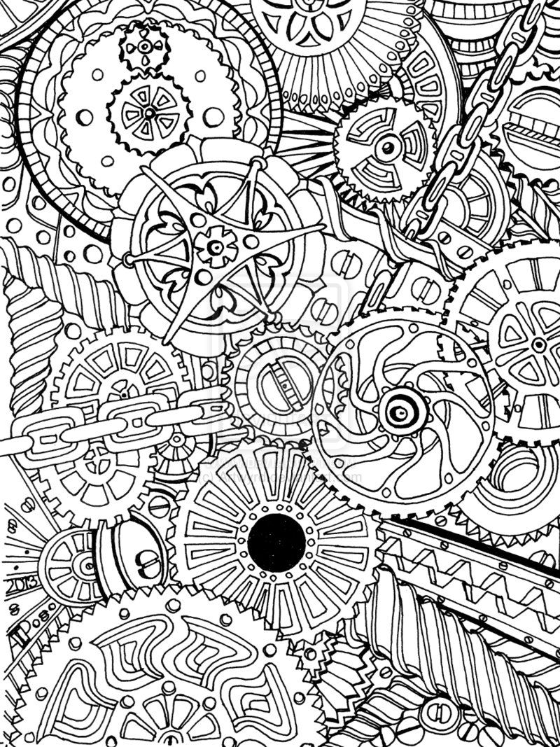 cogs deviantart coloring and zentangle